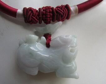 Jade Jadeite Dragon Necklace on Maroon Cord