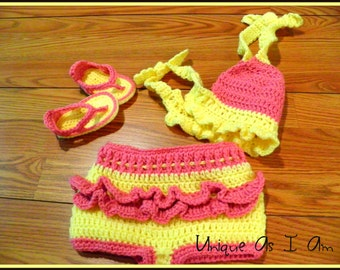 Crochet Baby Girl Bathing Suit and Flip Flops/Photo Prop