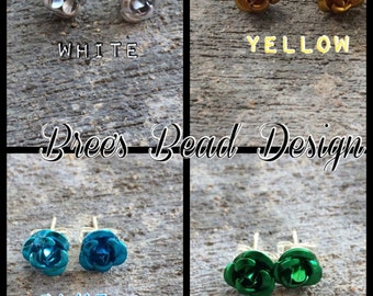 Colorful Metal Rose Earrings Studs