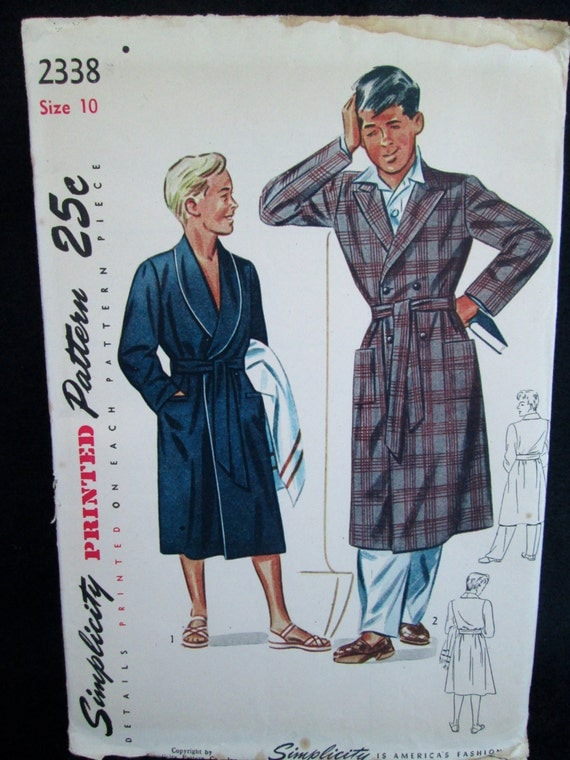 Vintage Simplicity Pattern #2338 BOY'S ROBE Two Styles 1940's Printed Sewing Pattern w/ Instructions Uncut
