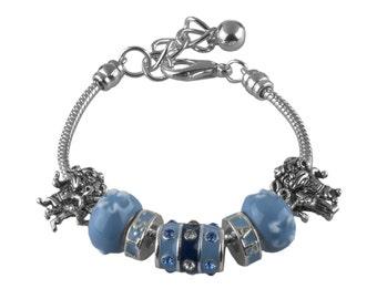 University of North Carolina Tarheels Silver Bracelet made of Beads & 2 Tarheel Ram Charms