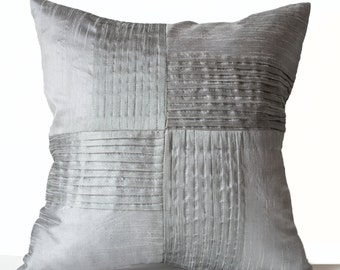 Gray Throw Pillow Cover, Decorative Pillow Case, Pleated Cushion, Textured Pillow, Grey Cushion 16x16 Accent Pillows, Housewarming Gift
