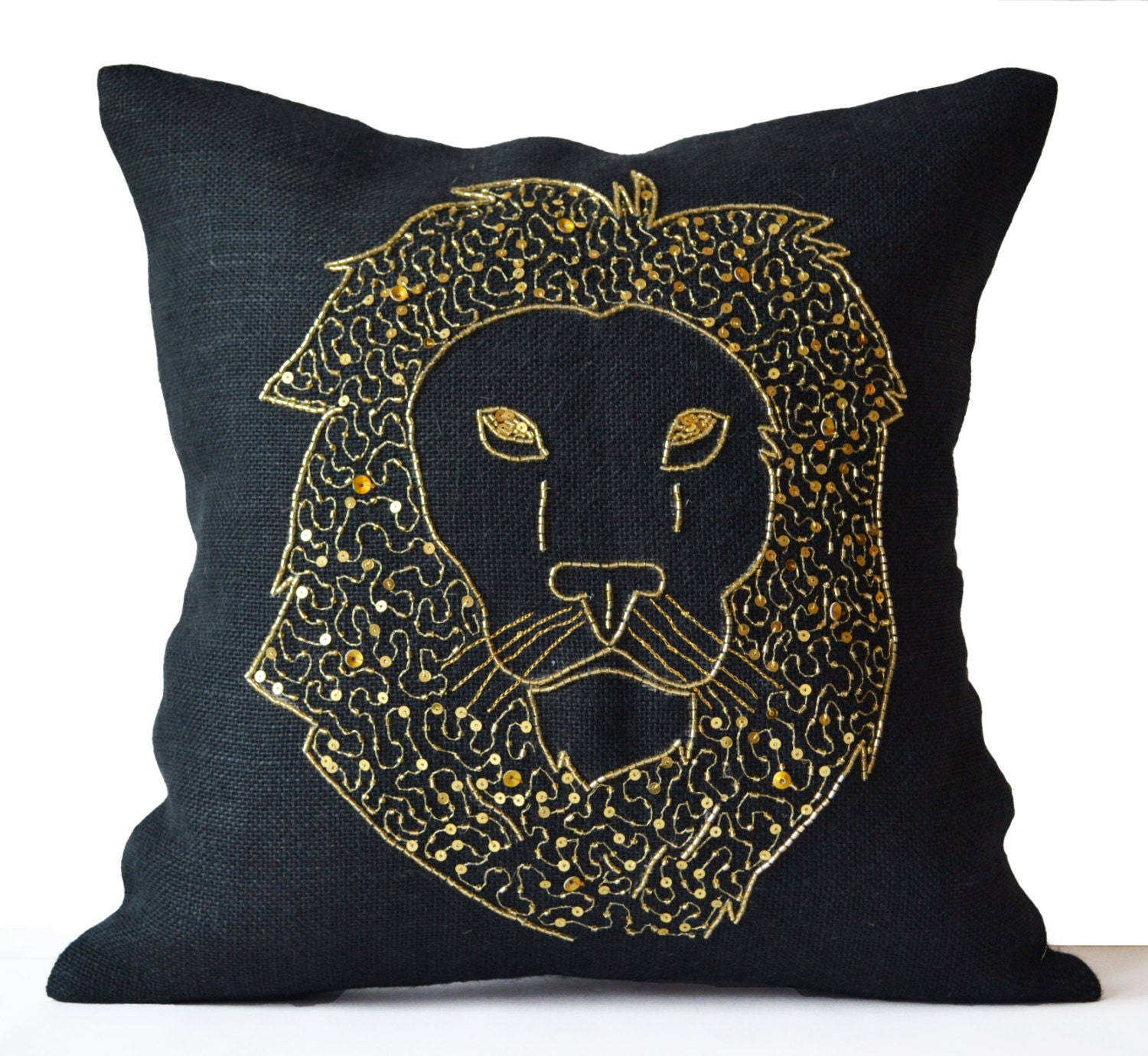 Lion pillows animal pillow embroidered in gold by