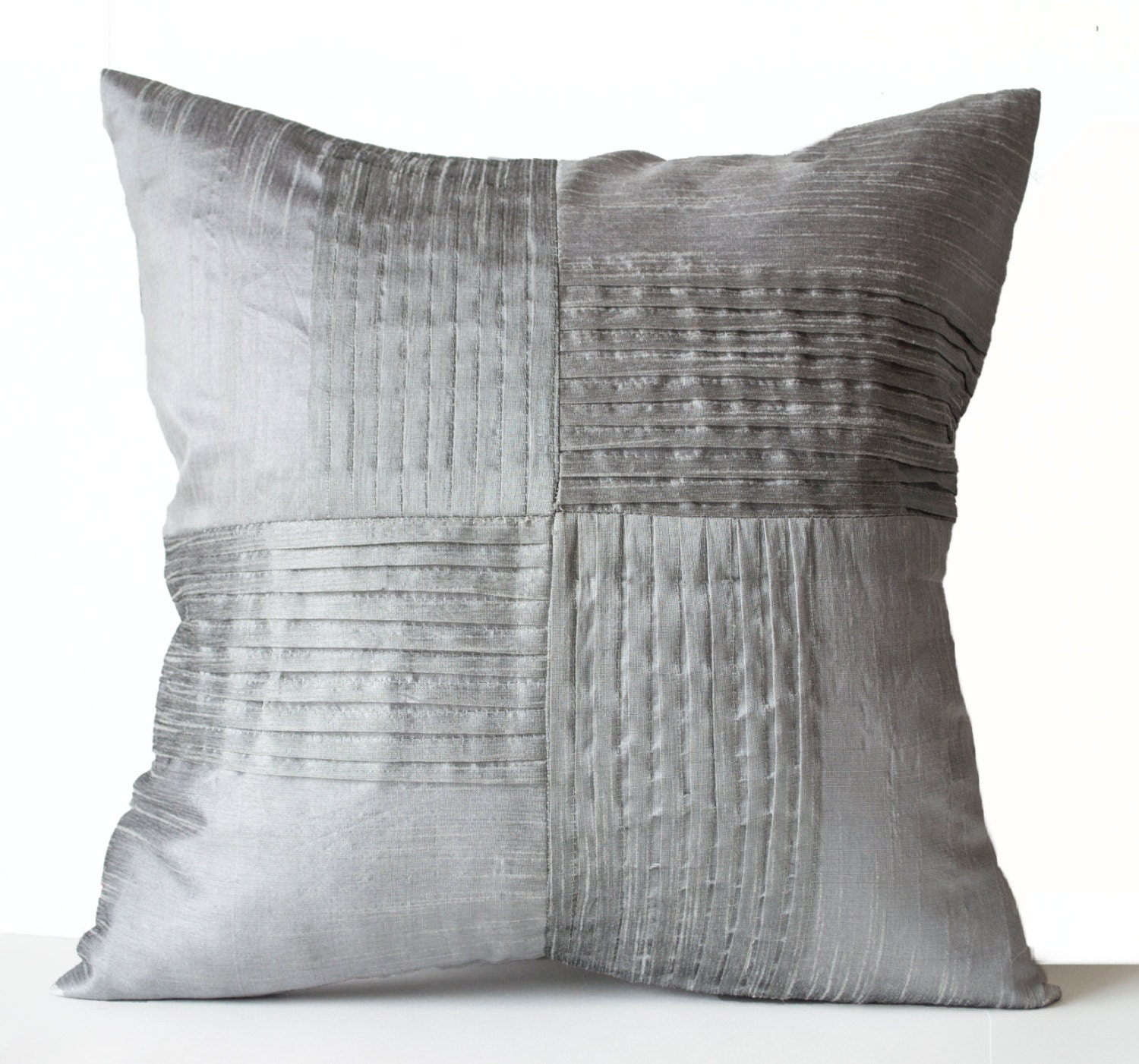 Grey Silk Throw Pillow Cover Decorative Pillow Case by AmoreBeaute
