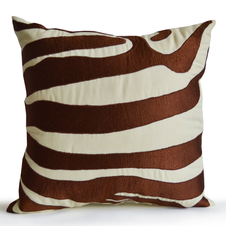 Decorative Zebra Pillows : Decorative Pillow Cover Zebra Striped Embroidered Pillows