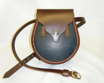 Handmade Brown Waxy Blue Brown Leather Vennachar Sporran.