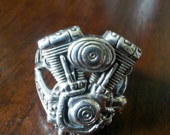 Harley davidson shovelhead motor ring sterling silver