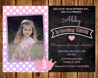 Pink and Purple Glitter Princess Chalkboard Photo Birthday Invitation for Girls- Digital File - DIY Printable 1st, 2nd, 3rd, 4th, 5th, 6th