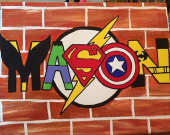 Hand Painted Superhero Name Art