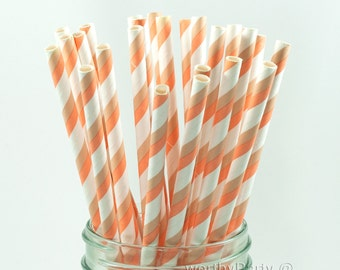 CORAL Salmon/ CREAM Two-Tone Spiraled Striped Paper Straws with FREE Printable Flags (25 count)