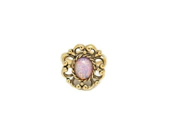 Statement Vintage Ring Sarah Cov Ring Opalescent Center Antique Gold Tone Setting Adjustable VF9458T7NY2
