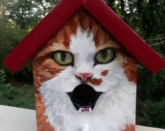 Bird House Hand Painted Orange Tabby Cat Custom Made Wood Outdoor