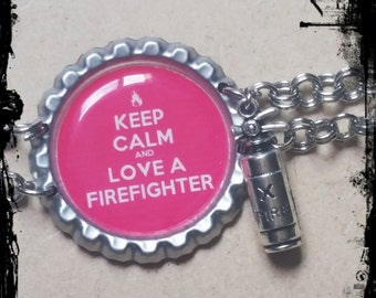"Pink Keep Calm and Love A Firefighter 8"" Dangle Bottle Cap Bracelet with Fire Extinguisher Charm (Wife, Girlfriend)(Thin Red Line)"