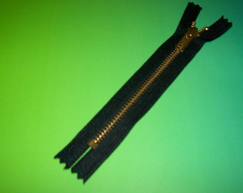 "6""  YKK Black Closed End  Zipper with Brass   Teeth  /   25  YKK Zipper  /  Ykk Metal Zipper  /  Closed End  Zipper /  Zipper"
