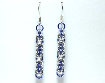 Violet and Silver Anodized Aluminum Byzantine Chainmaille Earrings