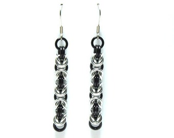 Byzantine Chainmaille Earrings | Hand Crafted Chainmaille Jewelry | Handmade Earrings | Black and Silver | Anodized Aluminum