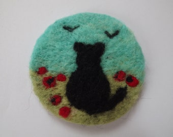 Needle felted brooch badge of cat in a field of poppies - made to order