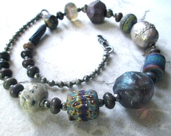 UNEARTHED III Urban Primitive Chunky Sterling Silver Beaded Necklace