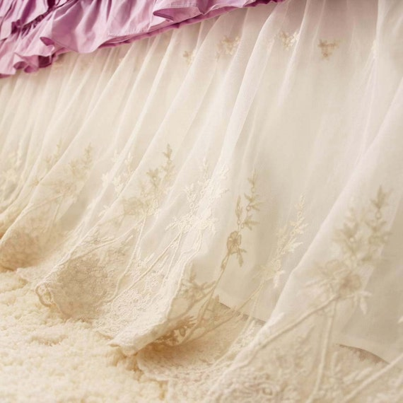 Ivory Lace Love Ruffle Bridal Embroidered Scalloped By