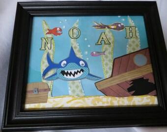 Custom Baby/Child Frame  - Shark Under the Sea
