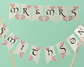 Personalised Mr & Mrs New Married name wedding cake topper bunting