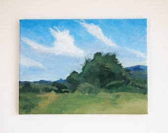 Landscape Painting English Countryside Green Trees Fields Blue Sky White Clouds Acrylic Original Art Outdoors Plein Air Summers Day