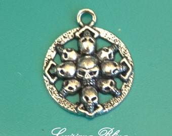 Skull Charms, Round skull Pendant, 28mm Antique Silver Finish 10 pieces, gothic looking skull charms 25-1-AS