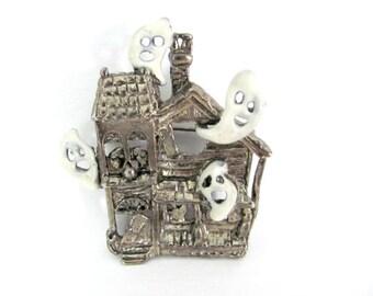 Vintage Halloween Brooch, 1970's Haunted House Brooch, Pin, Ghost Brooch, Halloween Jewelry, 1970's Brooch