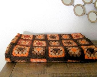 Vintage Afghan, 1970's Granny Square Afghan, Crochet Lap Blanket, Vintage Throw Blanket, 1970's Home Decor, Brown, Orange, Mid Century
