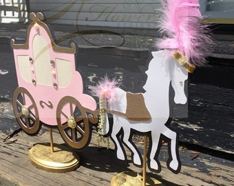 Pink and Gold Princess Centerpiece/Blush and Gold Horse & Carriage Centerpiece/