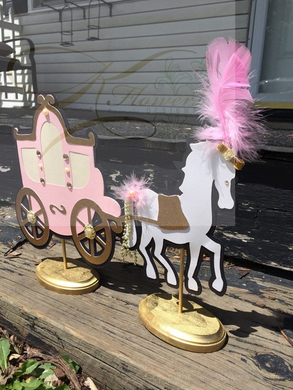 Pink and gold princess centerpiece blush horse
