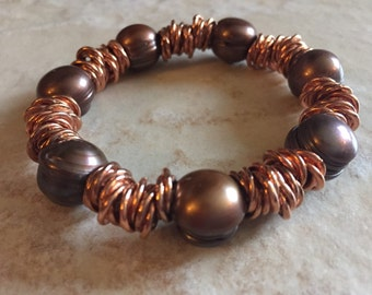 Copper And Pearls Bracelet