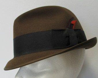 Imperial Stetson Hat  Size 7  hat with feather Brown with a black hat band