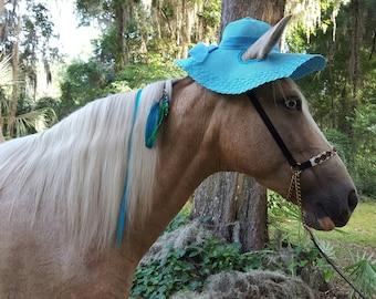 Turquoise Floppy Brim Hat for Horses - Sun Hat for Horse - Horse Costume - Wide Brim Equine Hat
