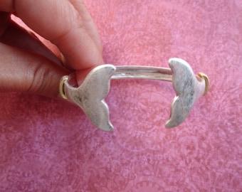 Whale tail 2 tone cuff bracelet