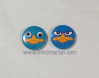 Perry the Platypus (Phineas & Ferb) Buttons, Magnets or Keychains 1.5 Inches