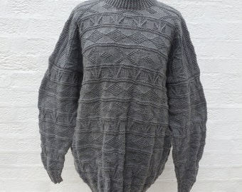 Sweater gray jumper wool clothing vintage handmade 90s chunky sweater knit clothes womens pullover mens large clothing knit gift winter top.
