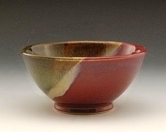 Handmade  Pottery Stoneware Bowl Plum Red Brown
