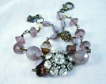 Vintage Assemblage Bracelet Vintage Rhinestone Bracelet Art Deco Vintage Vintage Bracelet Amithest Jewelry Vintage Rhinestone Buttons