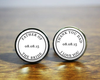 Father of the Bride Wedding cufflinks - A personalized gift to say thank you to your Dad on your wedding day (stainless steel cufflinks)