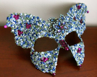 Blue Masquerade  Mask, Blue Roses, Butterfly Mask, Garden Party - Indigo Swallowtail