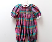 Vintage Heather Brown woven poly-cotton check playsuit with smocked detailing, 6 months