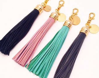 Long Leather Tassel Keychain