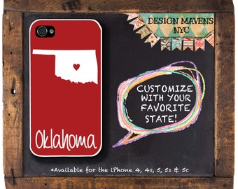 Oklahoma iPhone Case, Personalized iPhone Case, Fits iPhone 4,iPhone 4s, iPhone 5, iPhone 5s, iPhone 5c, iPhone 6, Phone Cover, Phone Case