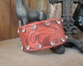 The Western Skies Leather Cuff, Leather Cuff, Feather Cuff, Cuff, Western Cuff