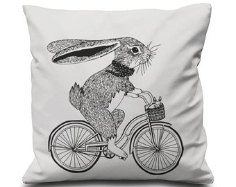 Screen Printed Cushion Pillow Cover -Bunny on Bike - One Cover 100% Cotton