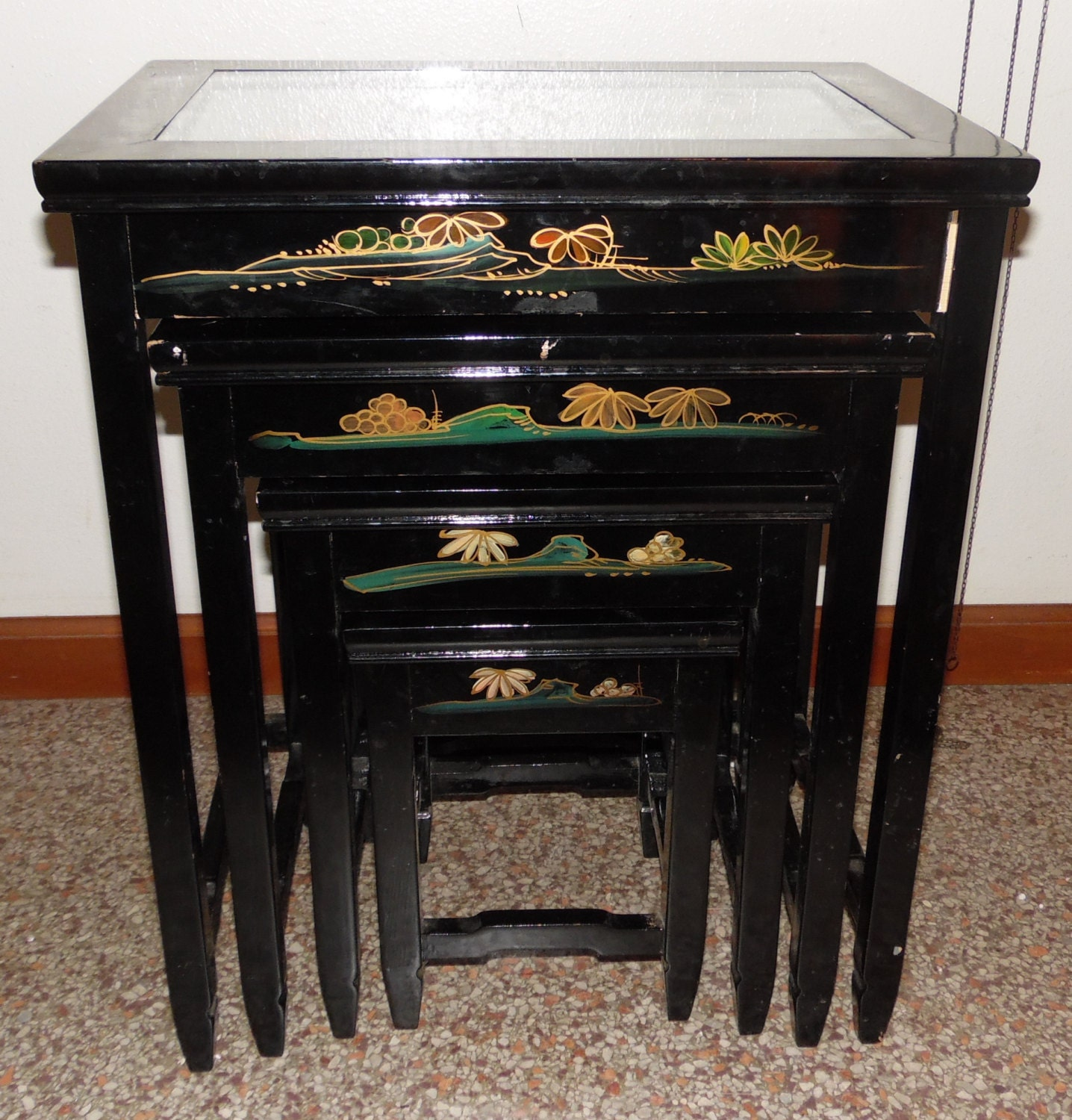 ... 4 Vintage Asian Oriental Black Lacquer Nesting Tables Stacking 4 Vintage  Asian Oriental Black Lacquer Nesting ...
