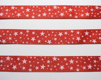 Red and white star ribbon - 5 yard length