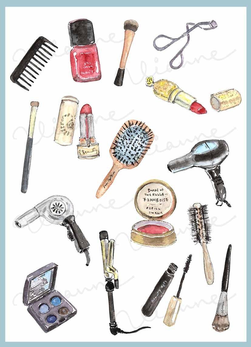 Makeup Clip Art: CLIP ART Watercolor Vintage Cosmetics Set. 16 Images. By