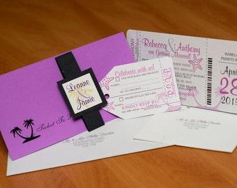 Boarding Pass Invitation - Custom Destination Wedding Invite | Handmade in Canada by ---- www.empireinvites.ca ----